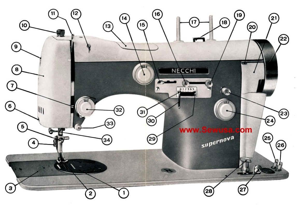 Necchi lydia 3 models 544-542 sewing machine service manual.